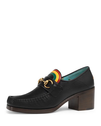 Vegas Block-Heel Leather Moccasin Pump