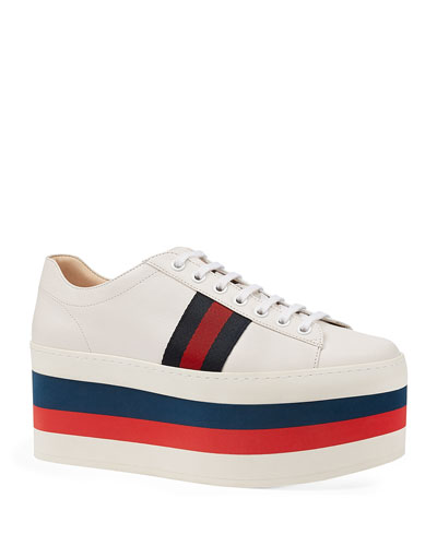 Peggy Striped Platform Sneaker, White