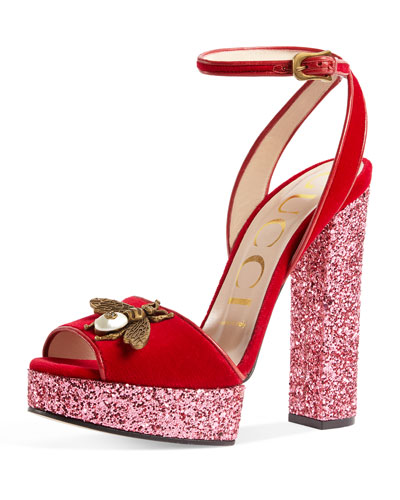 Soko Glittered Ankle-Wrap Platform Sandal