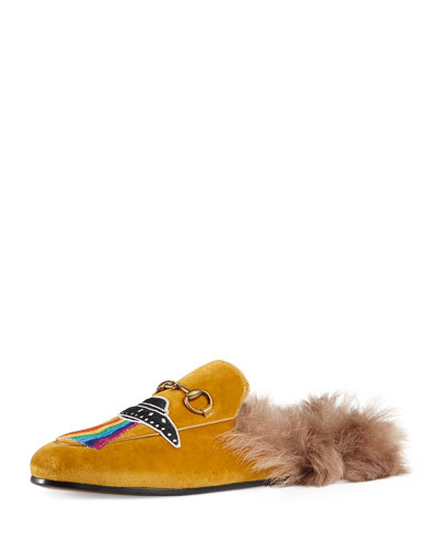 Princetown Embroidered Fur-Lined Mule, Brown