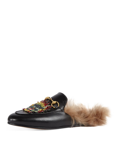 Princetown Embellished Fur-Lined Mule, Black