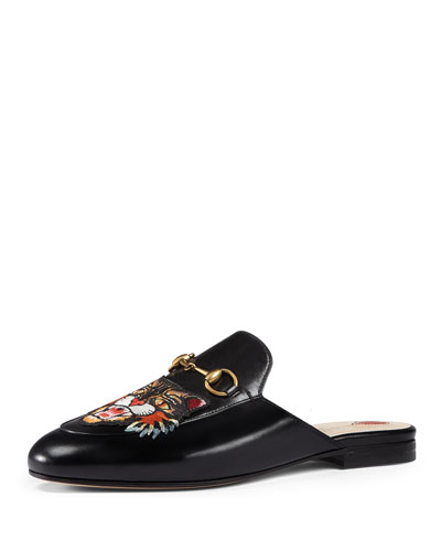 Princetown Tiger-Embroidered Loafer Mule, Black