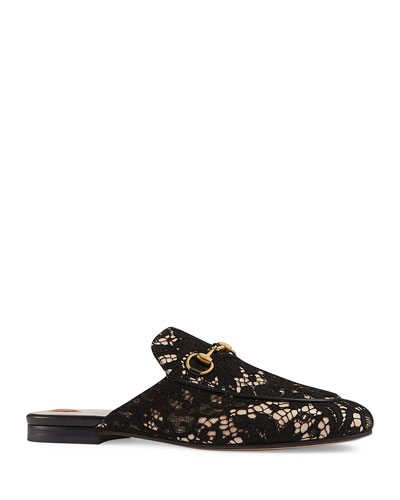 Princetown Lace Mule Loafer, Black
