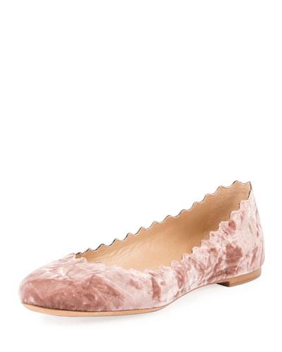 Lauren Velvet Ballerina Flat, Tan Rose