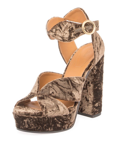 Graphic Leaves Velvet Sandal
