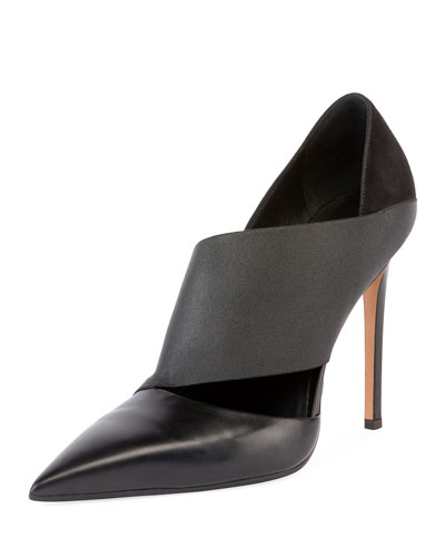 Audrey Asymmetric Leather 100mm Pump, Black