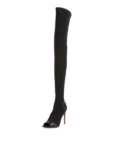 Aubane Knit Peep-Toe Thigh-High Boot, Black