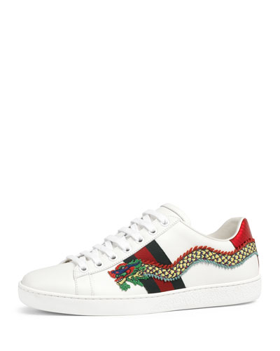 New Ace Snake-Embroidered Sneaker, White