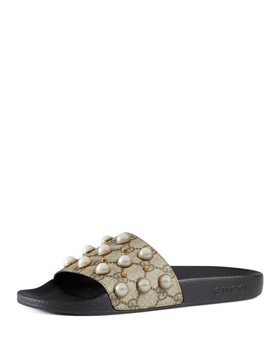 Pursuit Pearly-Studded GG Supreme Slide Sandal, Beige