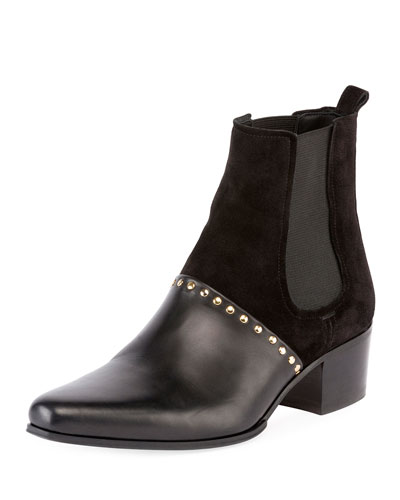 Artemisia Studded Chelsea Boot, Black