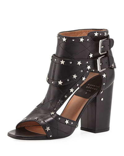 Rush Star-Studded Leather Sandal, Black