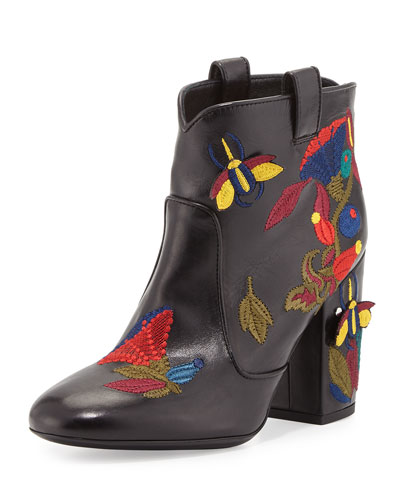 Pete Embroidered Leather Western Boot, Black Pattern
