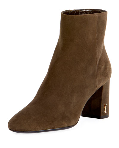 Loulou Suede Logo-Heel Boot, Olive