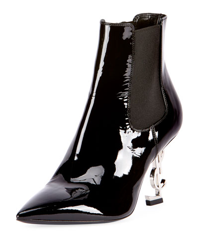 Patent Leather Logo-Heel Boot, Black