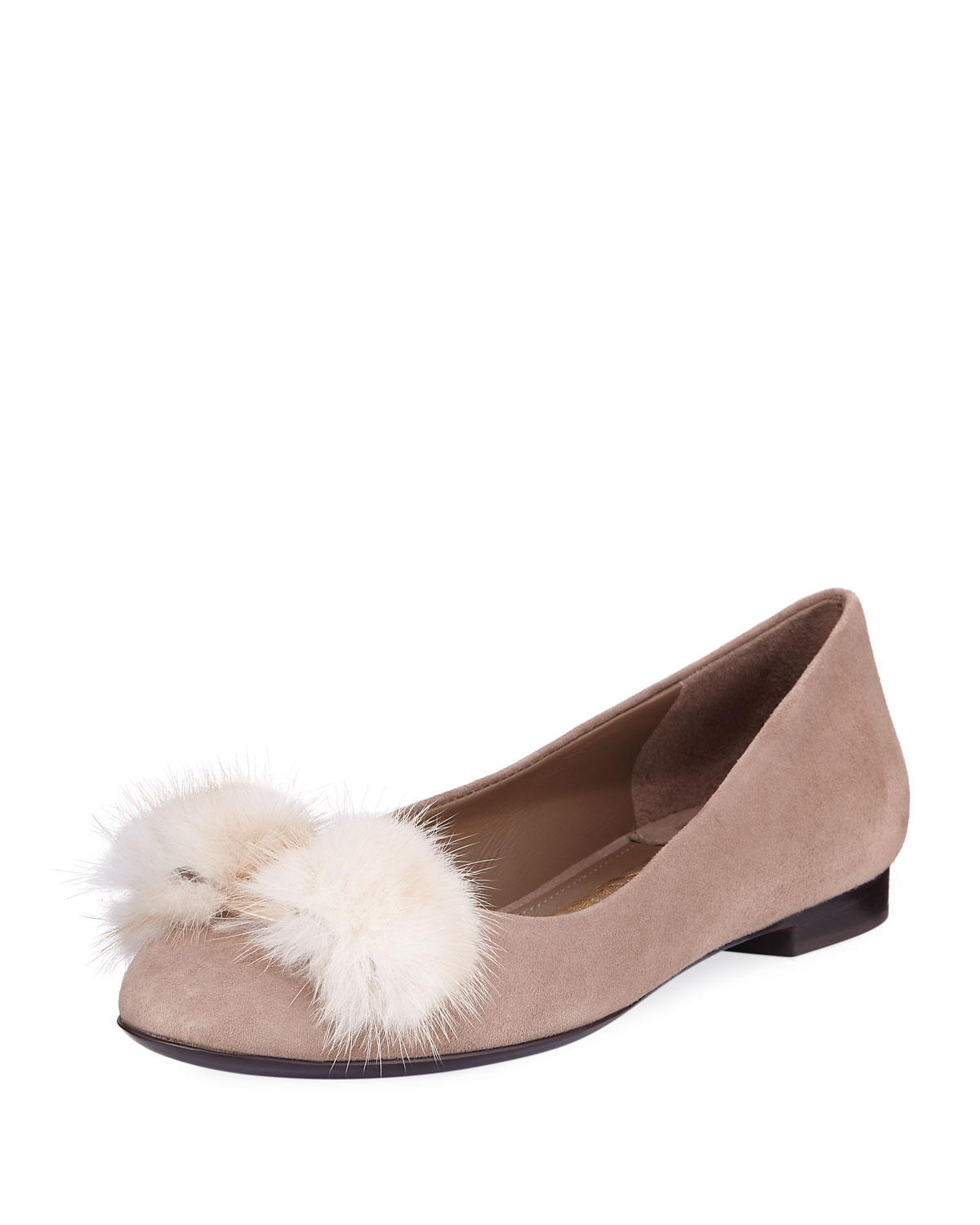 Suede Bow Ballerina Flat, Clay