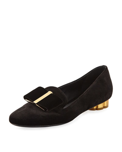 'Sarno' Metallic Flower Heel Bow Velvet Loafers, Nero