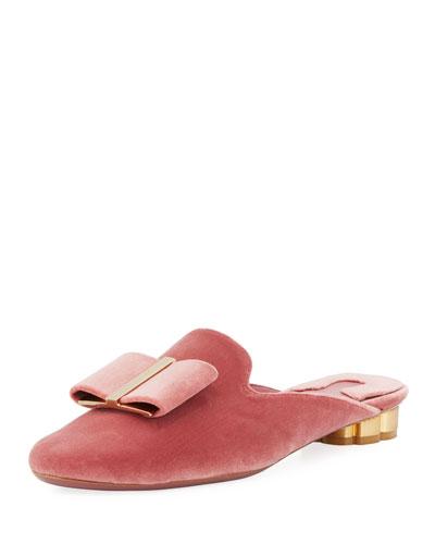 Velvet Slide Flat Mule, Blush