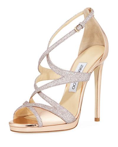 Marianne Strappy Crisscross Sandal, Gold