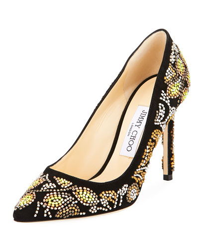 Romy Embroidered Suede Pump, Black Metallic