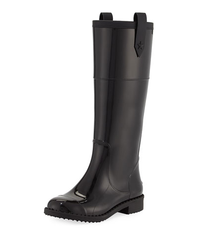 Edith Tall Rubber Rain Boot, Black