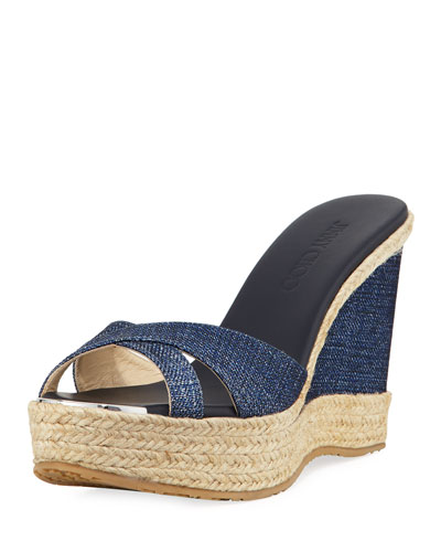 Perfume Denim Wedge Slide Sandal, Navy