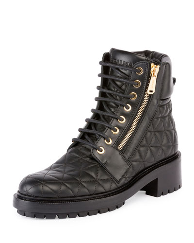 Army Quilted Leather Combat Boot, Noir