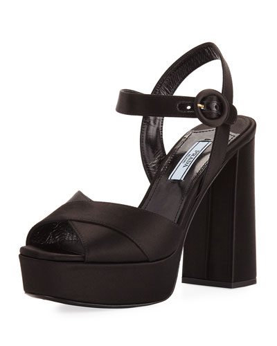Satin Crisscross 115mm Platform Sandal, Black