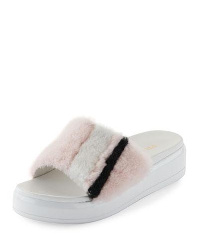 Shearling Fur Flatform Slide Sandal