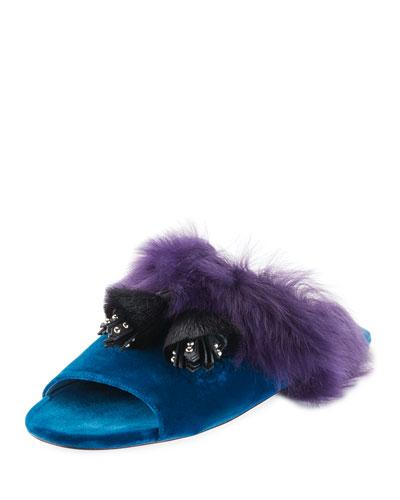 Fur Tassel Slide Sandal