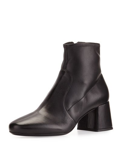 Stretch-Leather Block-Heel Bootie, Black