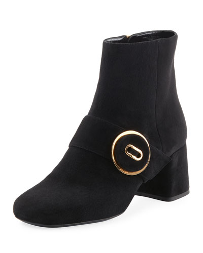 Suede Block-Heel Button Bootie, Black