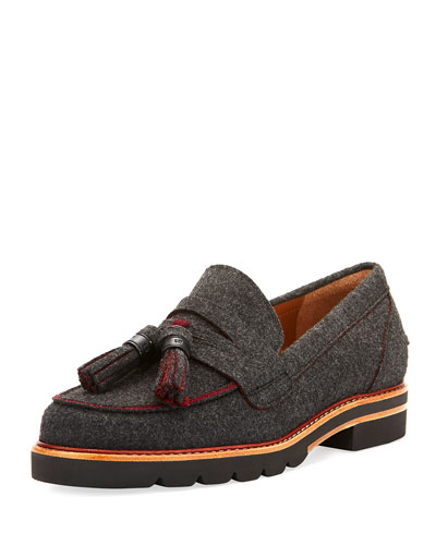 Manila Felt Tassel Loafer, Gray