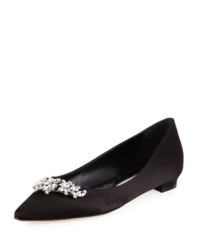 Lurum Crystal-Embellished Satin Flat, Black
