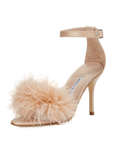 Plumas Feather-Embellished Sandal, Flesh