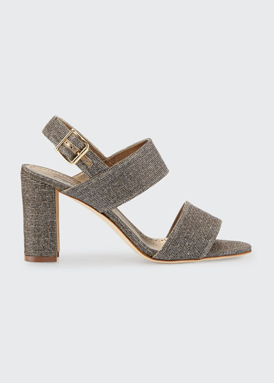 Khan Metallic Two-Band Sandals, Bronze