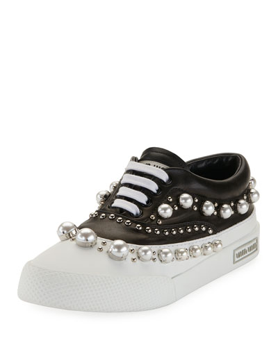Pearlescent Border Platform Sneaker, Black/White