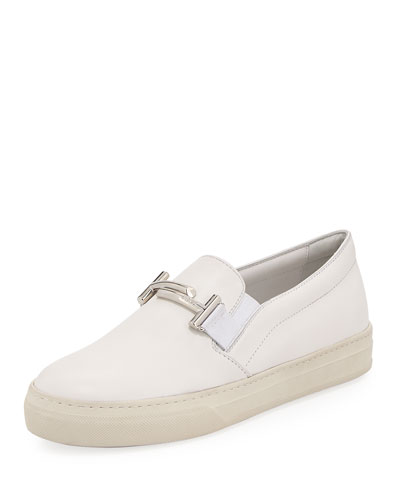 Leather Double-T Bit Strap Slip-On Sneaker, White