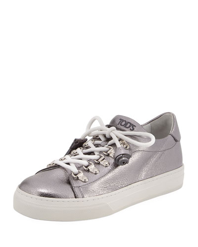 Lace-Up Leather Hiker Sneaker, Gray