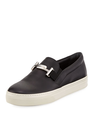 Leather Double-T Bit Strap Slip-On Sneaker, Black
