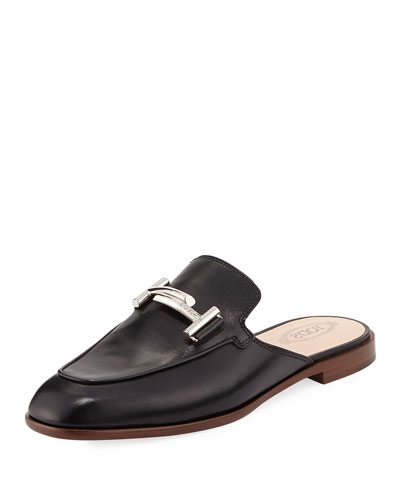 ZZ Sabot Leather Mule Flat, Black