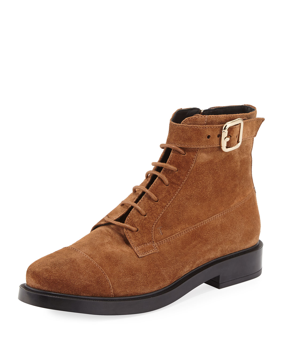 Lace-Up Suede Combat Boot, Brown