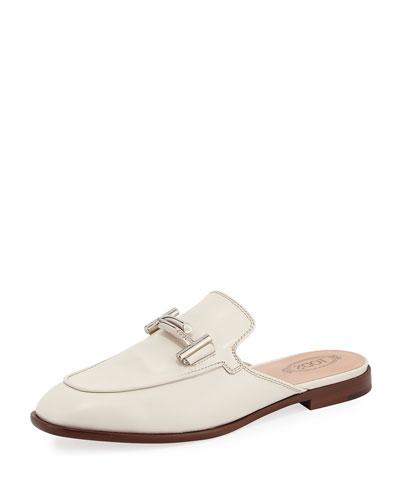 ZZ Sabot Leather Mule Flat, White