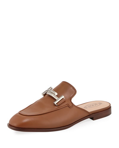 ZZ Sabot Leather Mule Flat, Brown