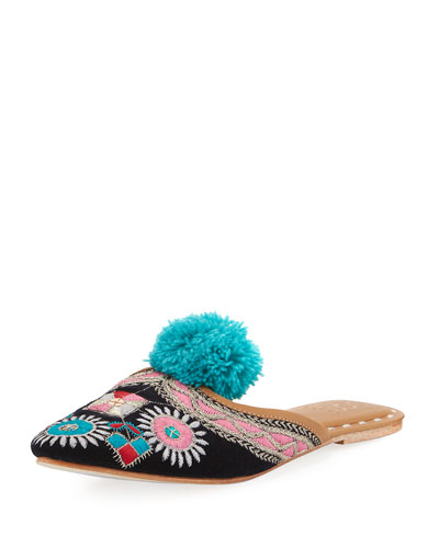 Embroidered Pompom Flat Mule Slide, Dark Blue