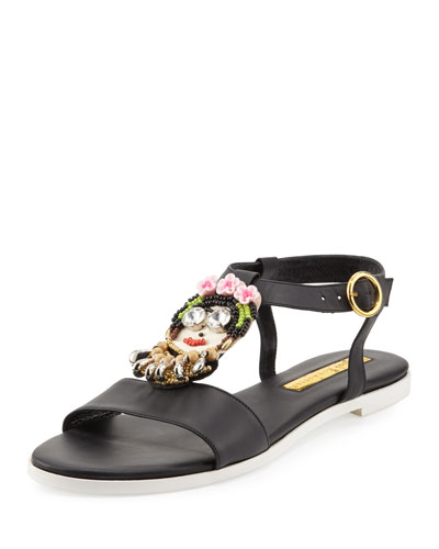 Frida Beaded Leather Sandal, Multi