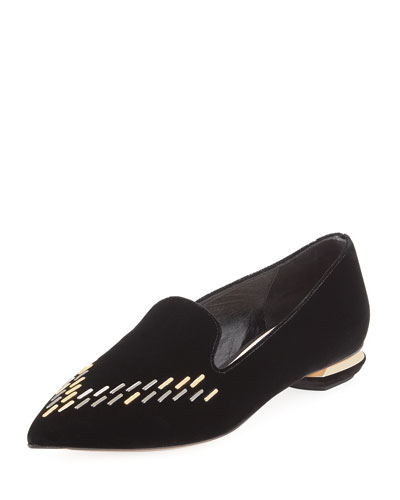 Beya Velvet Loafer Flat, Black
