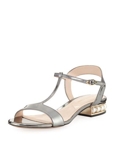Casati Metallic T-Bar Sandal, Gray