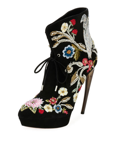 Embroidered Lace-Up Bootie, Black