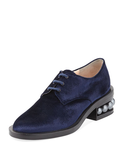 Casati Velvet Derby Oxford, Navy