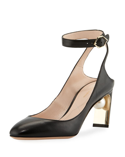 Lola Pearly Ankle-Strap Pump